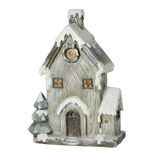"""Northlight 30"""" LED Lighted Battery Operated Rustic House Christmas Decor"""