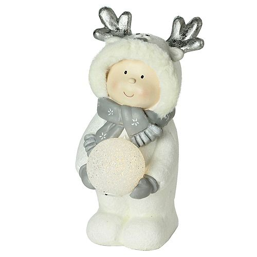 """15.75"""" Smiling Child in White Snow Suit Holding LED Lighted Snowball Christmas"""