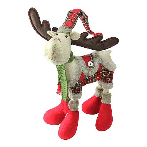 """Northlight 25"""" Nordic Red and Green Plaid Reindeer Christmas Tabletop Figurine"""
