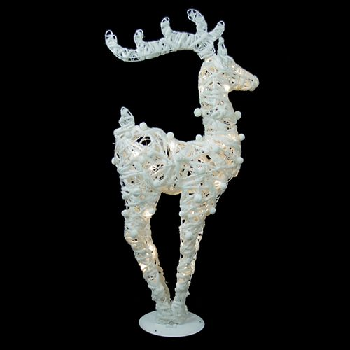 """36"""" Battery Operated White and Silver Glittered LED Lighted Reindeer Christmas Decoration"""