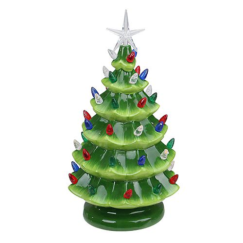 "Northlight 12.5"" LED Lighted Retro Table Top Christmas Tree with Star Topper"