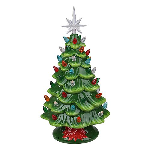 """13"""" LED Lighted Retro Table Top Christmas Tree with Star Topper"""
