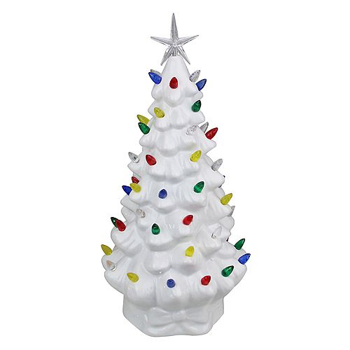 """14.5"""" LED Lighted Retro Table Top Christmas Tree with Star Topper"""