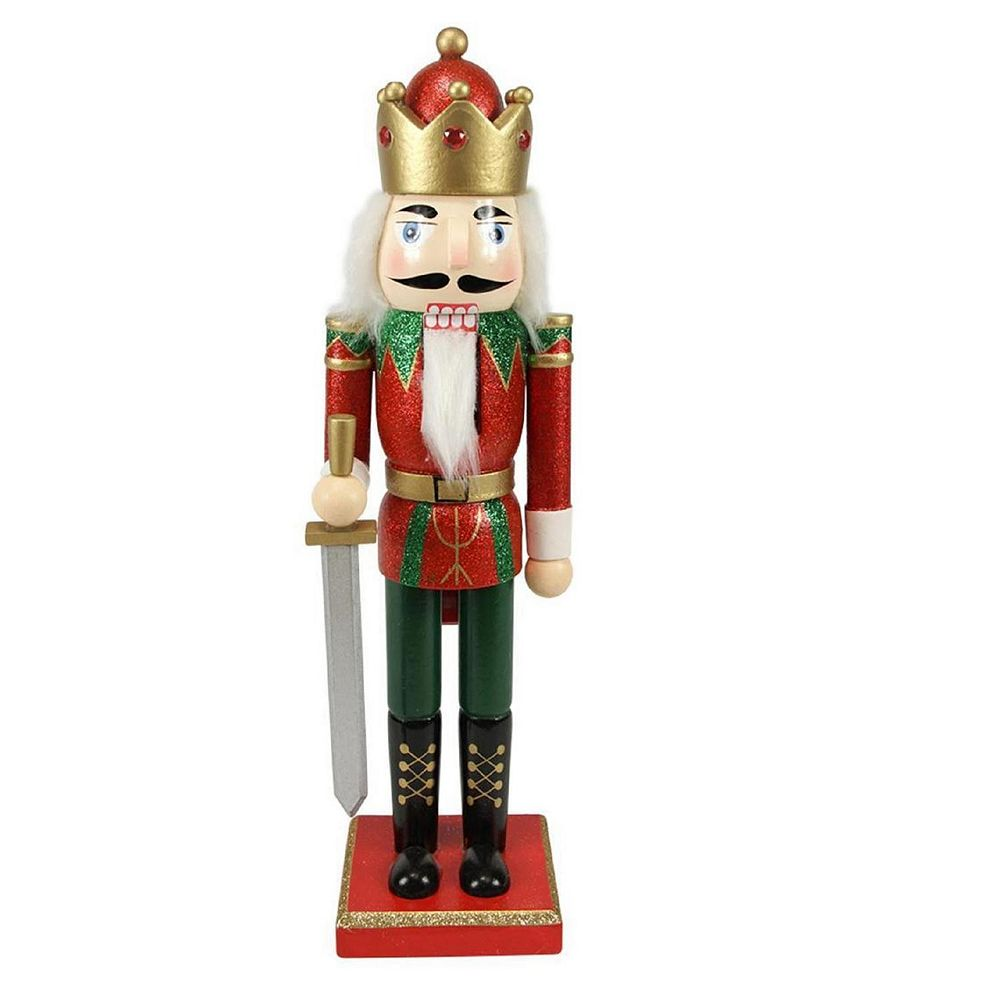 """Northlight 14"""" Red  Green and Gold Glittered Wooden Christmas Nutcracker King with Sword"""