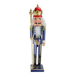 """24"""" Blue and Gold Christmas Nutcracker King with Scepter"""