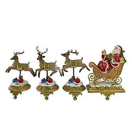 """Set of 4 Gold and Red Santa with Reindeer Christmas Stocking Holders 9.5"""""""