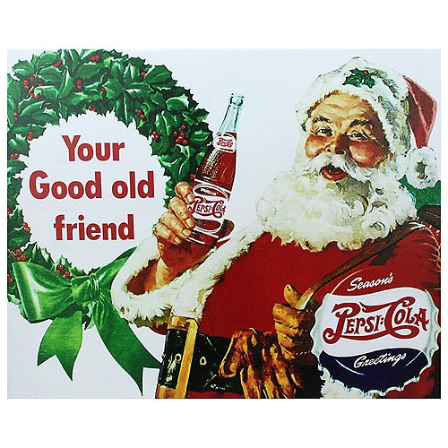 """Northlight 15.75"""" x 19.75"""" Red and Green LED Back Lit Santa Claus Pepsi Christmas Wall Art"""