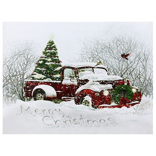 """LED Fiber Optic Red Truck and Tree Christmas Canvas Wall Art 15.75"""" x 12"""""""
