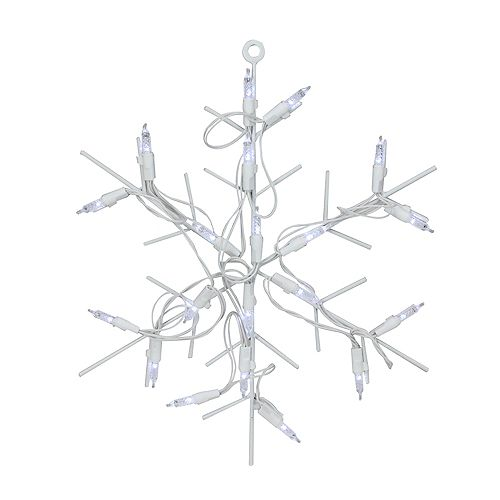 """12"""" Silver LED Lighted Snowflake Christmas Window Silhouette with Timer"""