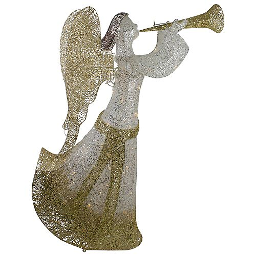 """Northlight 44"""" Cotton Thread LED Lighted Gold and Silver Glitter Angel Outdoor Christmas Decoration"""