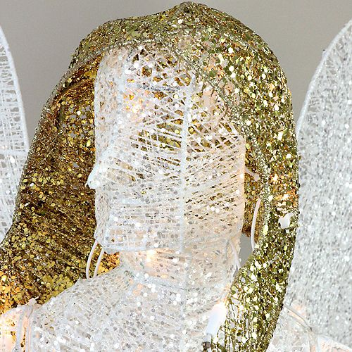 """48"""" LED Lighted White and Gold Glittered Angel Christmas Outdoor Decoration - Warm White Lights"""