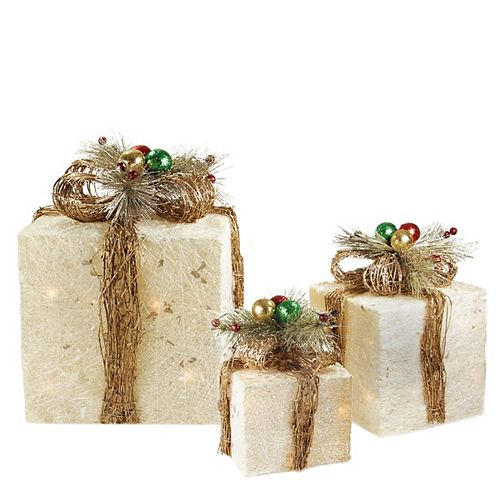 Set of 3 Cream Sisal Gift Boxes with Twine Bows Outdoor Lighted Christmas Decorations