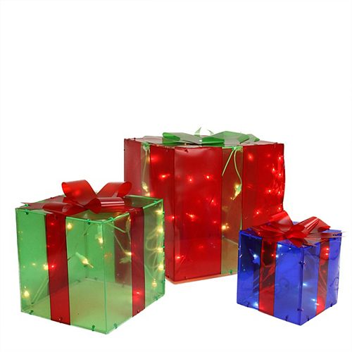 Set of 3 Red  Green and Blue Gift Box Outdoor Christmas Decoration