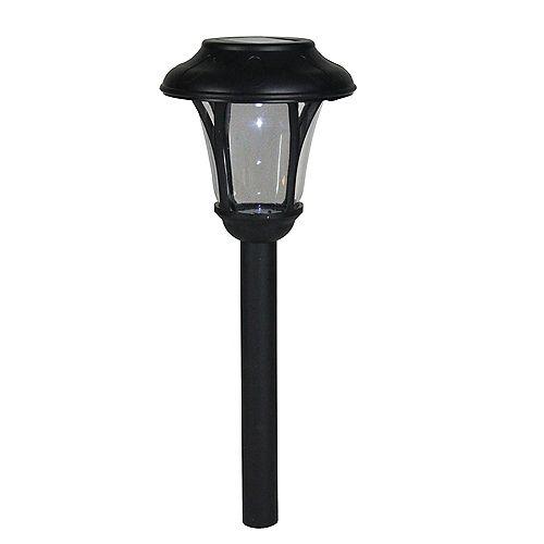 "12"" Black Lantern Solar Light with White LED Light and Lawn Stake"