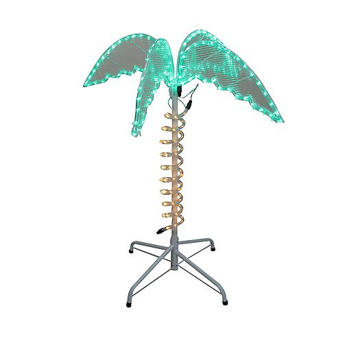 2.5' Green and Tan LED Palm Tree Rope Light Outdoor Decoration