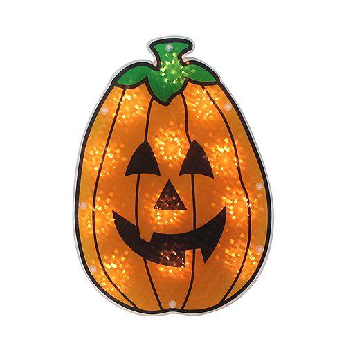 "12"" Orange Holographic Lighted Pumpkin Halloween Window Silhouette Decoration"