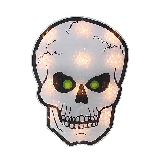 """12"""" Silver and Black Holographic Lighted Skull Halloween Window Silhouette Decoration"""