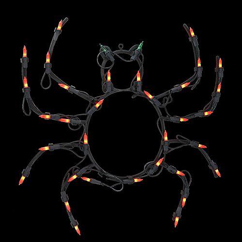 "15"" Lighted Spider Halloween Window Silhouette Decoration"