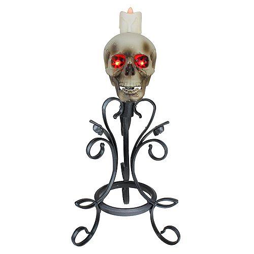 "16.25"" Gothic Flameless Skull Halloween Candle Holder"