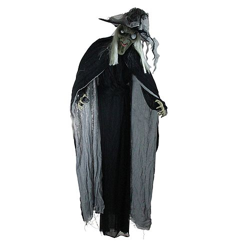 6' Black and Gray Lighted LED Life-Size Standing Wicked Witch with Cape Halloween Décor