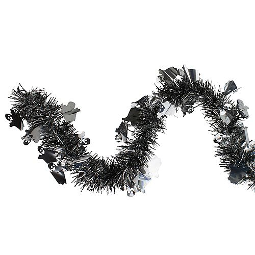 Northlight Black and Silver with Ghosts Halloween Tinsel Garland - 50 feet  Unlit