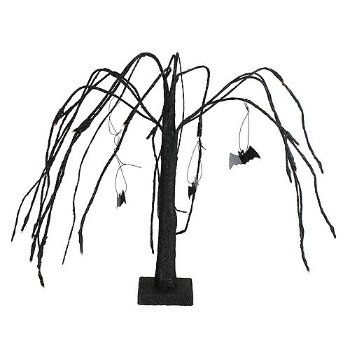 """Northlight 24"""" Black and Orange LED Lighted Glitter Halloween Cascading Willow Tree with Bats"""