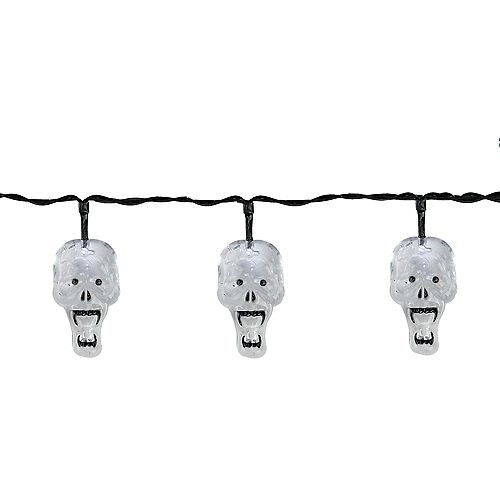 Set of 10 Battery Operated Skull LED Halloween Lights - Black Wire 5.75'