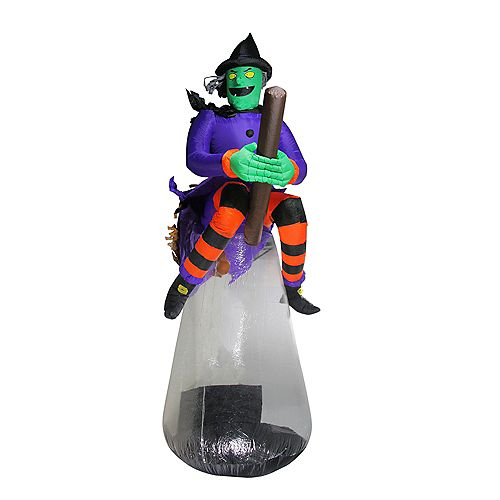 10' Purple and Black LED Lighted Inflatable Flying Witch Halloween Outdoor Decoration