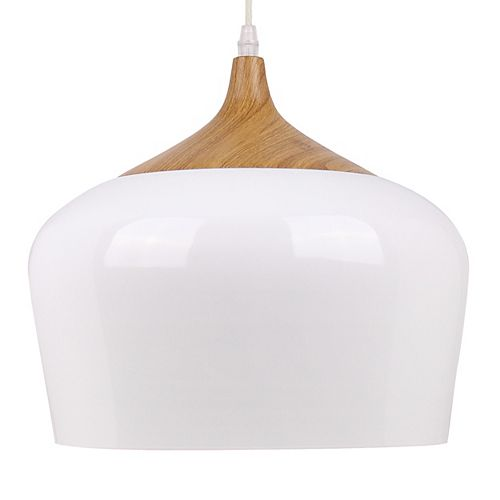 Urbania Collection 1-Light White and Wood Pendant Light