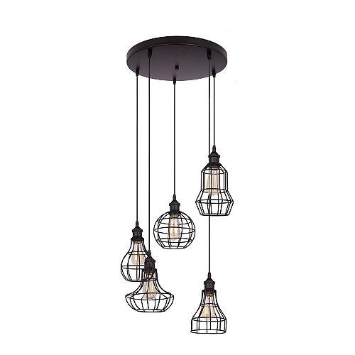 Luminaire suspendu noir à 5 lumières de la collection Lancy