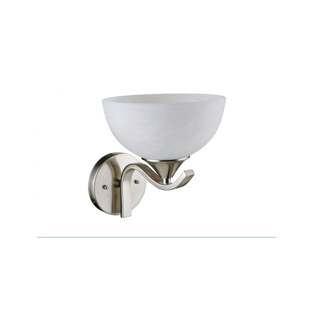 Beldi Inc. Bisbee Collection 1-Light Satin Nickel Finish with Frosted Glass Wall Light