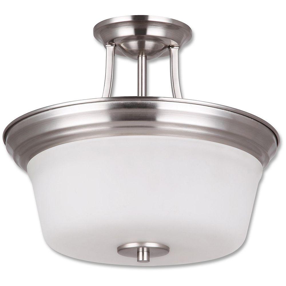 Beldi Inc. Seattle Collection 2-Light Satin Nickel Semi Flush Mount Light