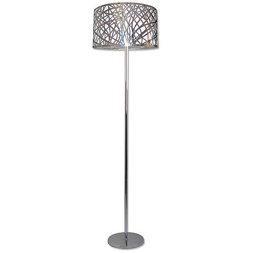 Lampe sur pied chrome à 1 lumière de la collection Nice