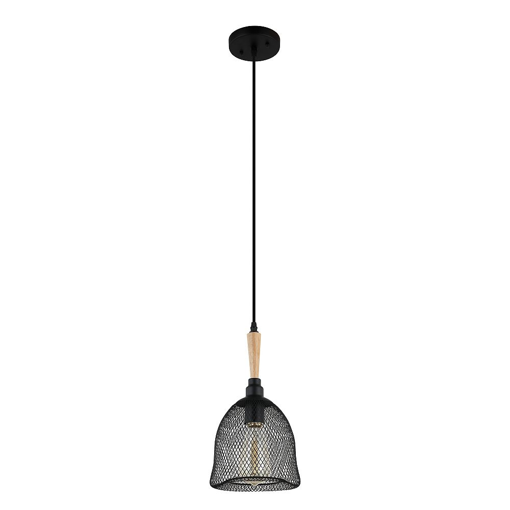 Beldi Inc. Kuta Collection 1-Light Black and Wood Pendant Light