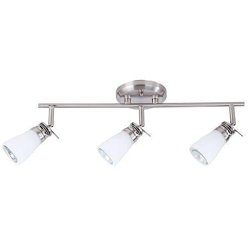 Rail d'éclairage satin nickel à 3 lumières de la collection Bâle