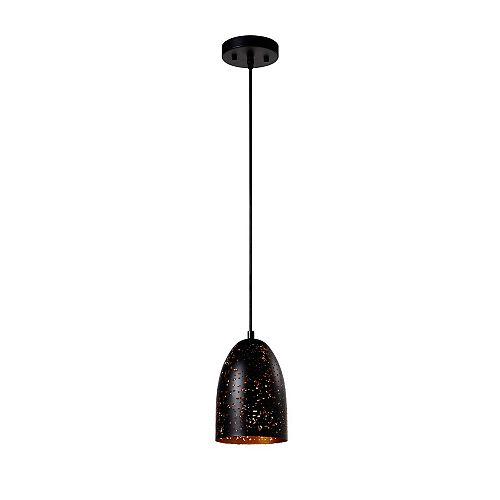 Luminaire suspendu noir à 1 lumière de la collection Dublin (petit)
