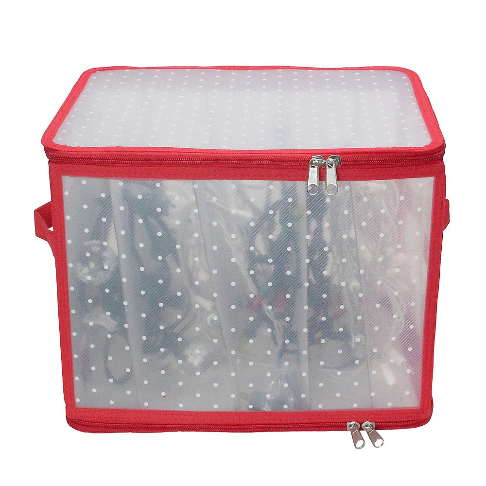 "Northlight 12.5"" Transparent Zip Up Christmas Light Storage Box"