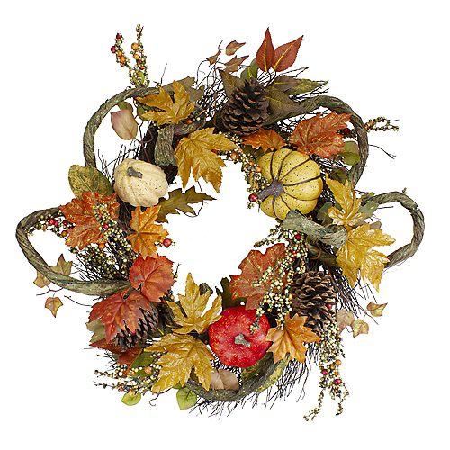 Sunflower  Pumpkin  Foliage and Pine Cone Fall Harvest Wreath - 24 inch  Unlit