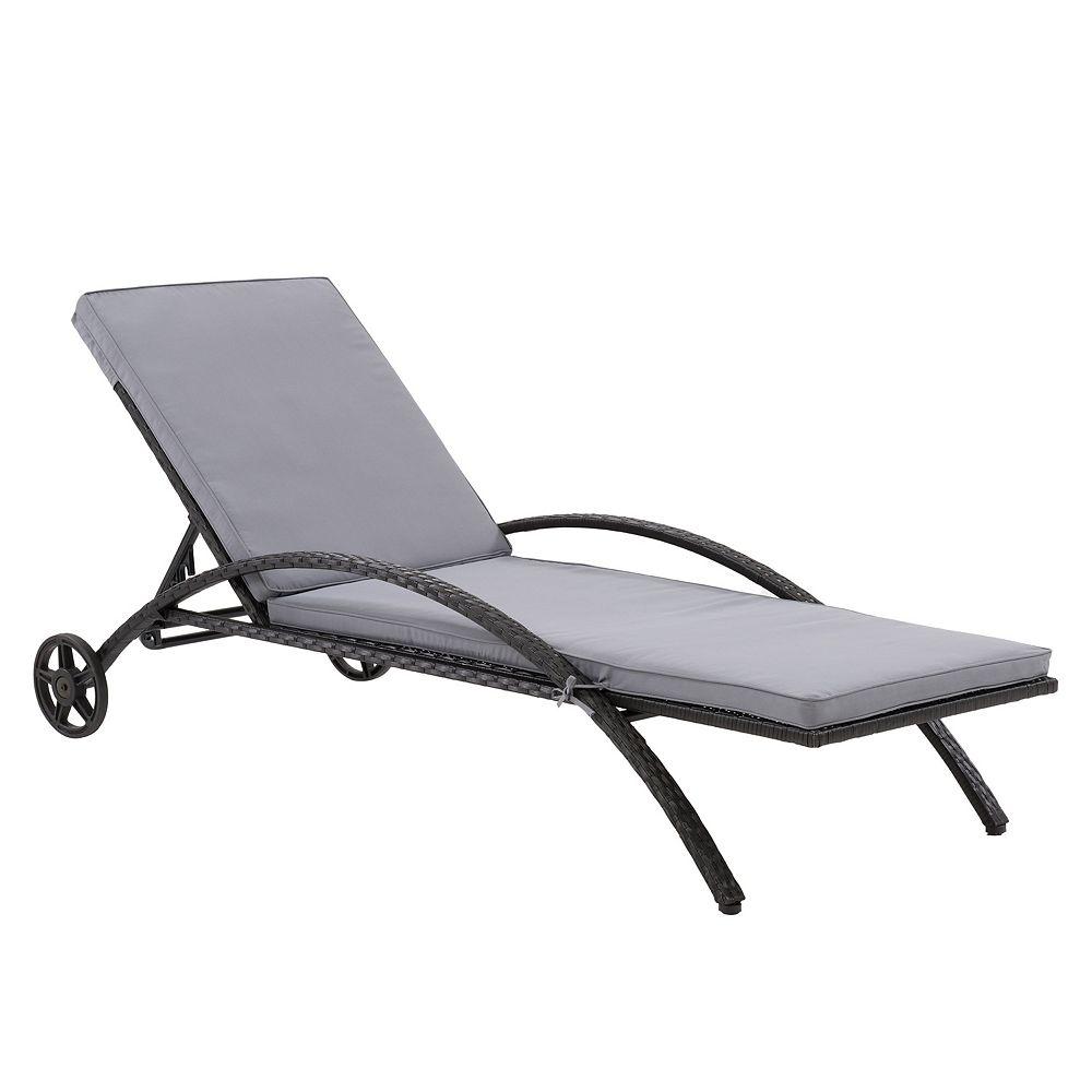 Corliving CorLiving Patio Sun Lounger - Black Finish/Ash Grey Cushions