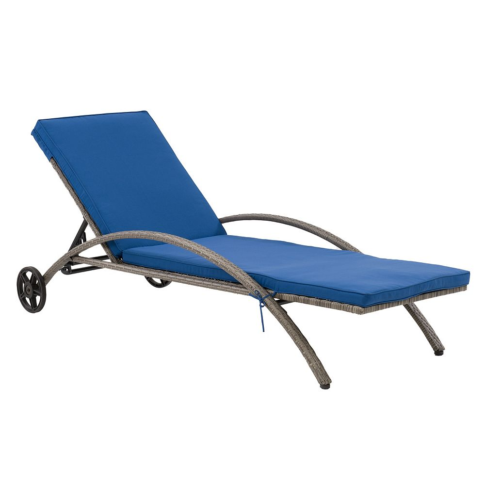 Corliving CorLiving Patio Sun Lounger - Blended Grey Finish/Oxford Blue Cushions