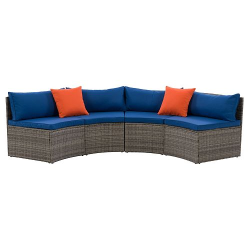 Corliving CorLiving Parksville Patio Sectional Bench Set - Blended Grey Finish/Oxford Blue Cushions 2pc