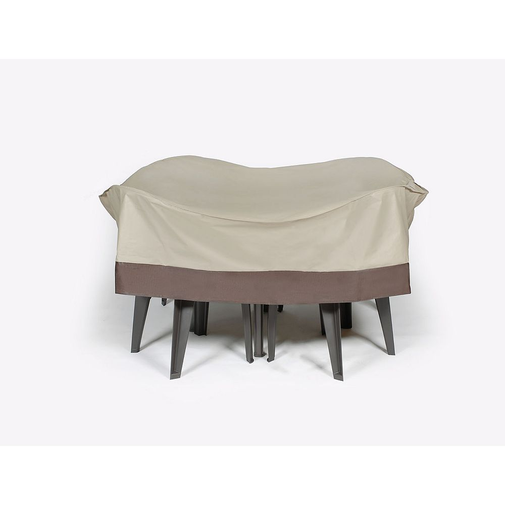 "LB International 72"" Beige and Brown Durable Outdoor Round Patio Furniture Set Vinyl Cover"