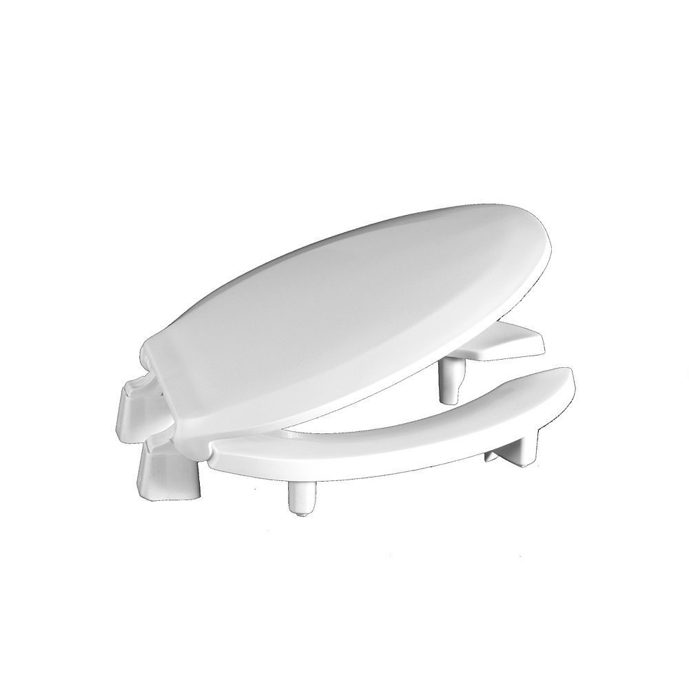 Centoco Ada Compliant 3 Inch Raised Elongated Open Front With Cover Toilet Seat In White The Home Depot Canada