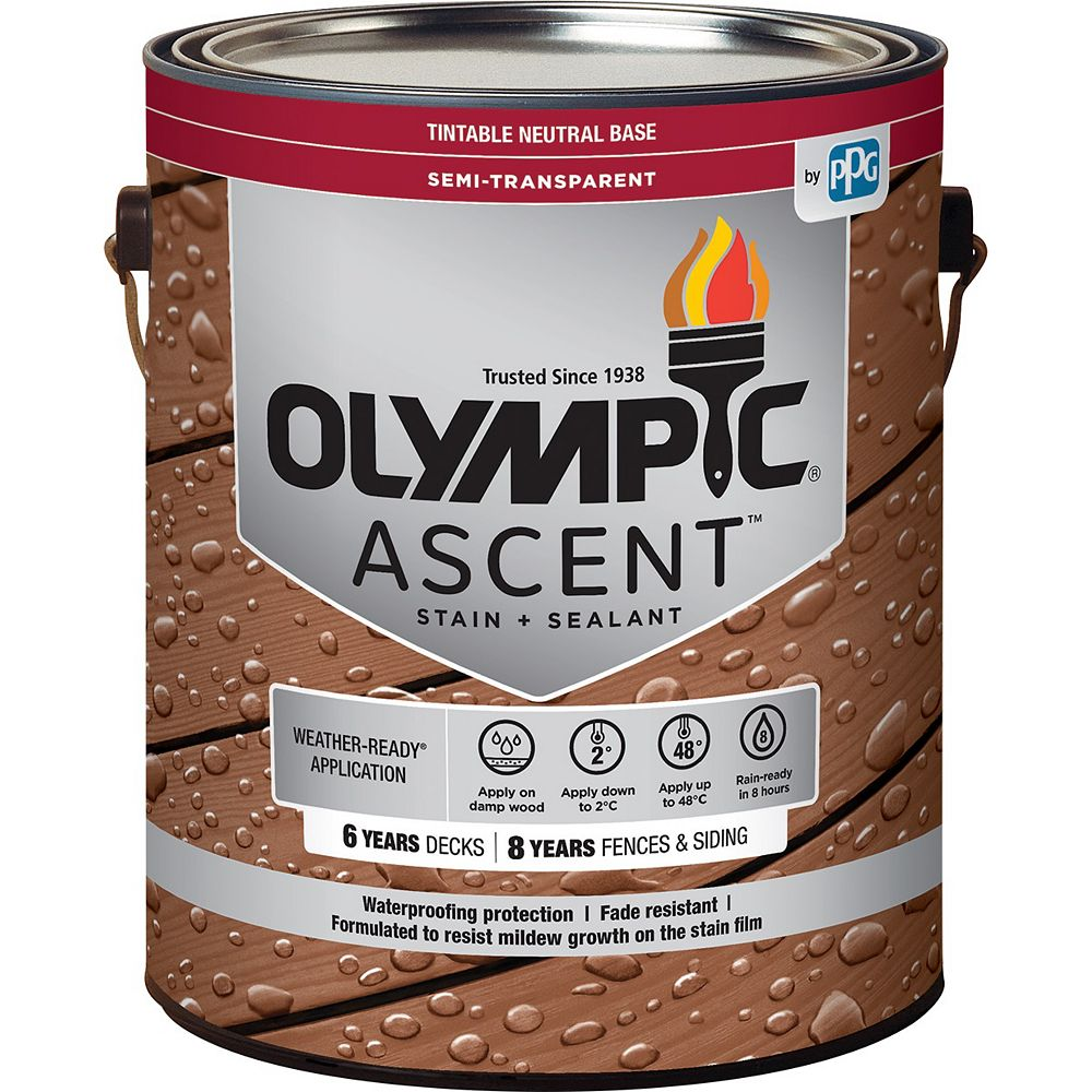 Olympic Ascent Exterior Semi-Transparent Stain in Neutral Base 3.37 L Capacity