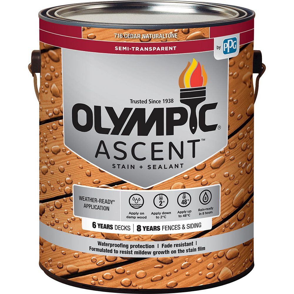 Olympic Ascent Semi-Transparent Stain plus Sealant Cedar Naturaltone 3.78 L-795611C