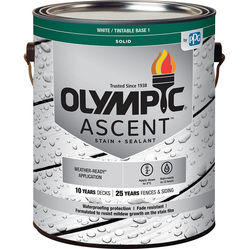 Olympic Ascent Solid Stain plus Sealant White/Base 1, 3.54L