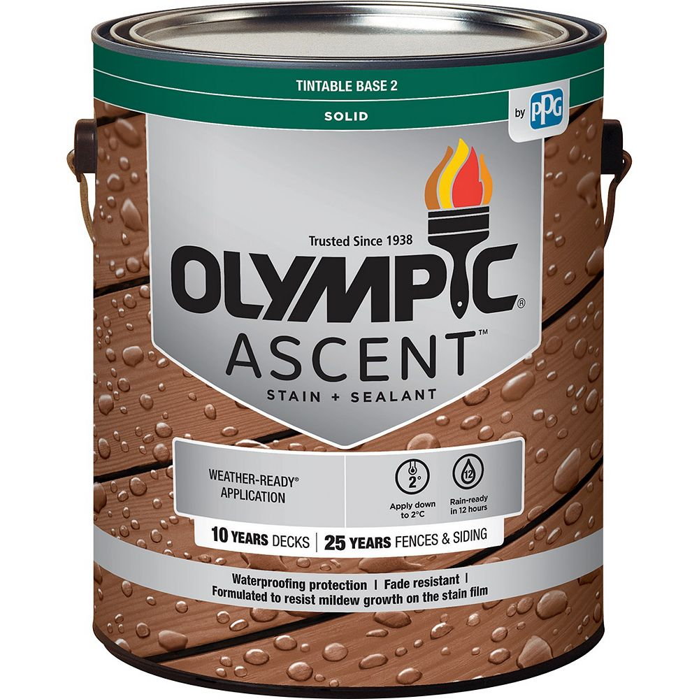 Olympic Ascent Solid Stain plus Sealant Base 2, 3.37 L-796121C