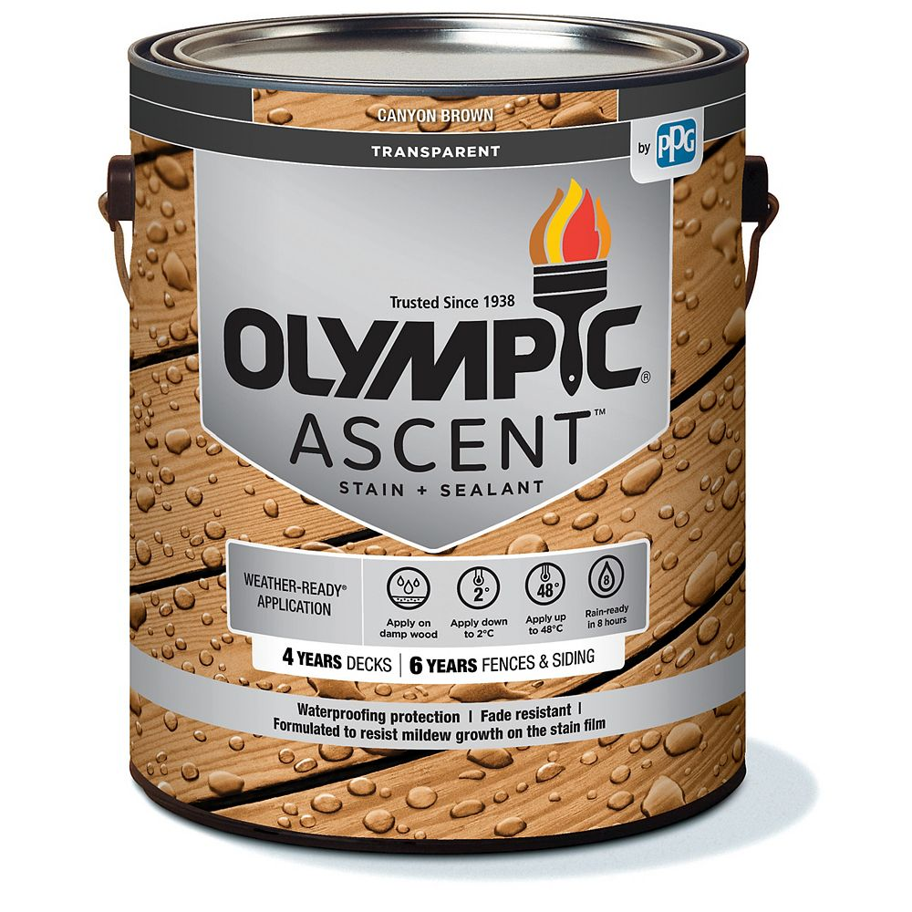 Olympic Ascent Transparent Stain plus Sealant Canyon Brown 3.78 L-564051C