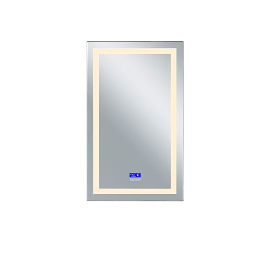 LED rectangle blanc mat 30 po. Miroir De notre collection Abril avec LED blanc chaud