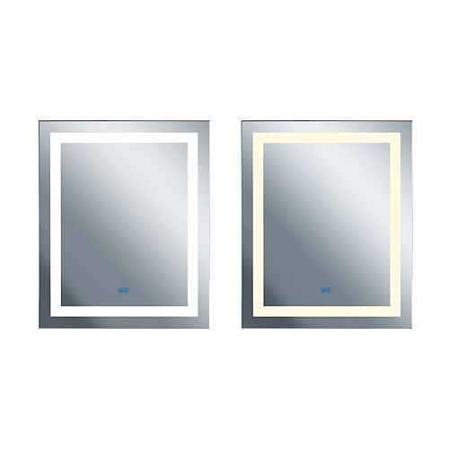 Rectangle blanc mat LED 32 po. Miroir De notre collection Abril